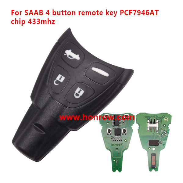 High Quality saab 9-3 SAAB 4 button remote key With PCF7946AT Chip and 433Mhz