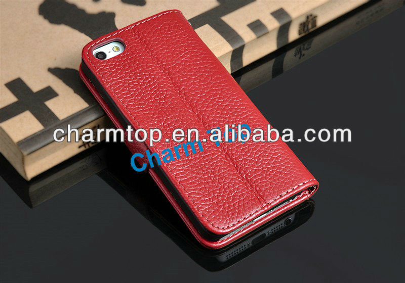Genuine Leather Stand Case For Apple iPhone 5 5G