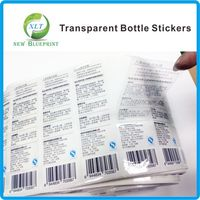 Custom Tranparent Shampoo bottle Back Ingredient Labels With Black Printed, Water Proof Clear Bottle Ingredient Label Rolls