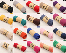 Wholesale Plain Women Muslim Scarf Solid Color Cotton Infinity Jersey Hijab