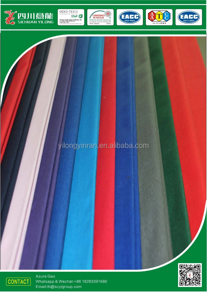 Polyester/Cotton blended T65/C35 210gsm ribstop fabric solid dyed with Antibacterial fabric