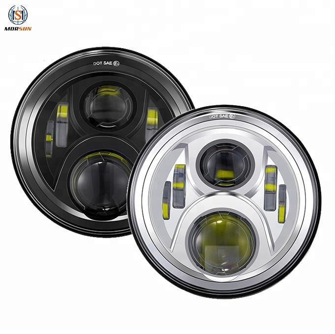 "Black 7 Inch 50W Orsam Chip Hi/Low Beam H4 Headlamp 7"" Led Headlight"