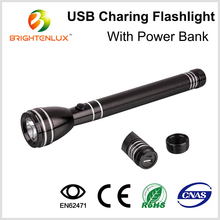 Factory Wholesale Cheap Aluminum 3watt High Power Cree Geepas Rechargeable USB led Torch Light Portable Power Bank