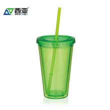 Promotional wholesale reusable eco friendly blue green double wall fitness customize 16oz water plastic cup with straw