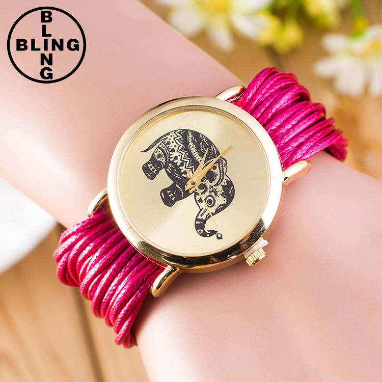 >>>2017 Fashion Dress Ladies Quartz Rope Winding Elephant Women Watches