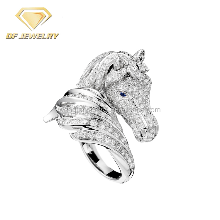 Elegant Fashion Jewelry Gemstone Finger Ring Horse Design Ring