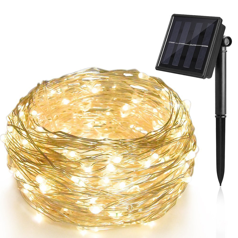 Solar LED Christmas Lights Color Changing LED Solar Powered led String Lights,100 LED Solar Copper Rope Light for Outdoor