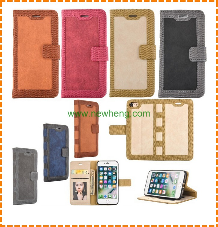 New book style pu leather wallet phone case for iphone 7 plus
