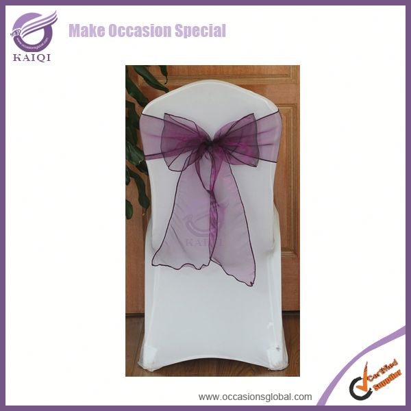 BS012 ultra plum fashion organza spandex chair covers and sashes for sale for wedding and hotel decoration