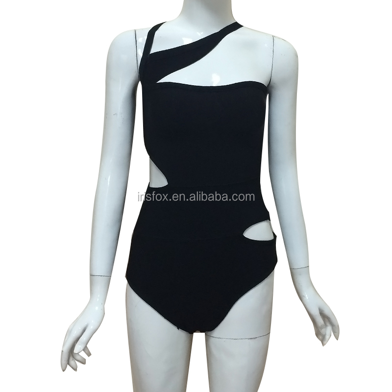 one piece swimsuit bandage fabric push up swimwear bikini