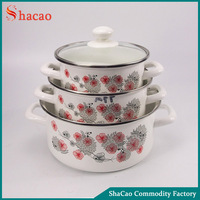 6Pcs Flower 18/20/24Cm Enamel Cookware Set With Decoration