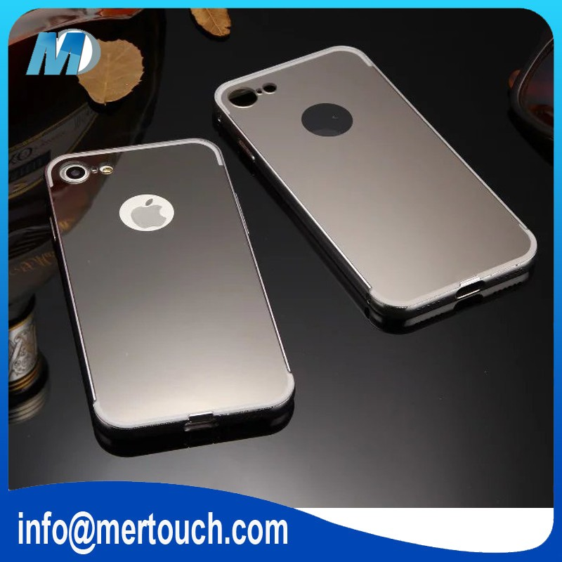 for iphone 7 Luxury Mirror Back Shock-Absorption metal Bumper Anti-Scratch Bright Reflection Protective Case