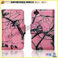 pink camo realtree oak wallet leather case for iphone 4