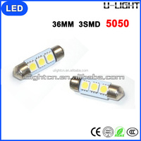 Stable performance led car light 36mm 3smd 5050 white red yellow green blue led car light bulb for dome light