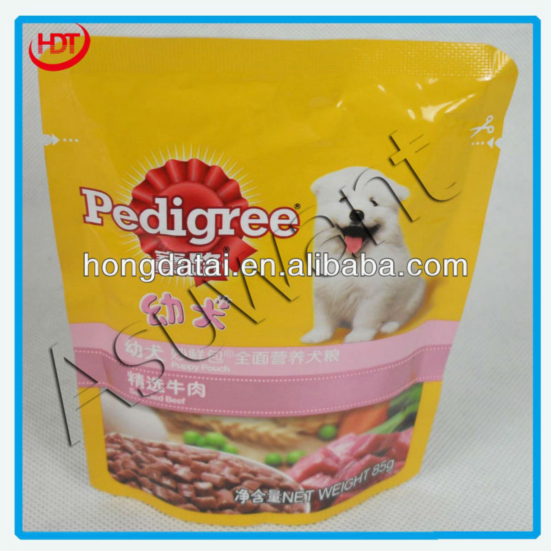 puppy pet food stand up packaging bag