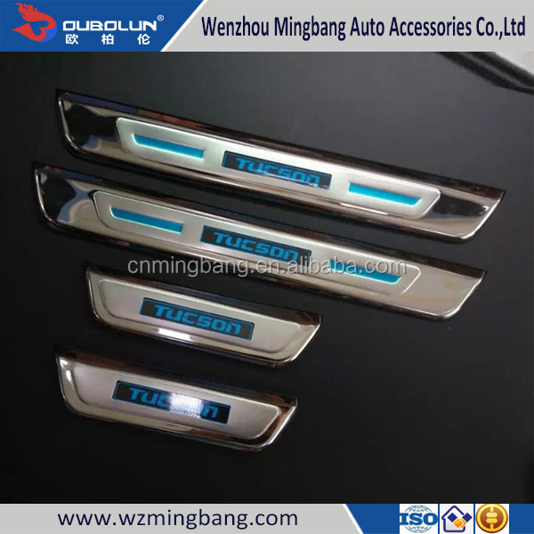 High Quality Stainless Steel Led Door Sill Scuff Plate for Hyundai Tucson 2015