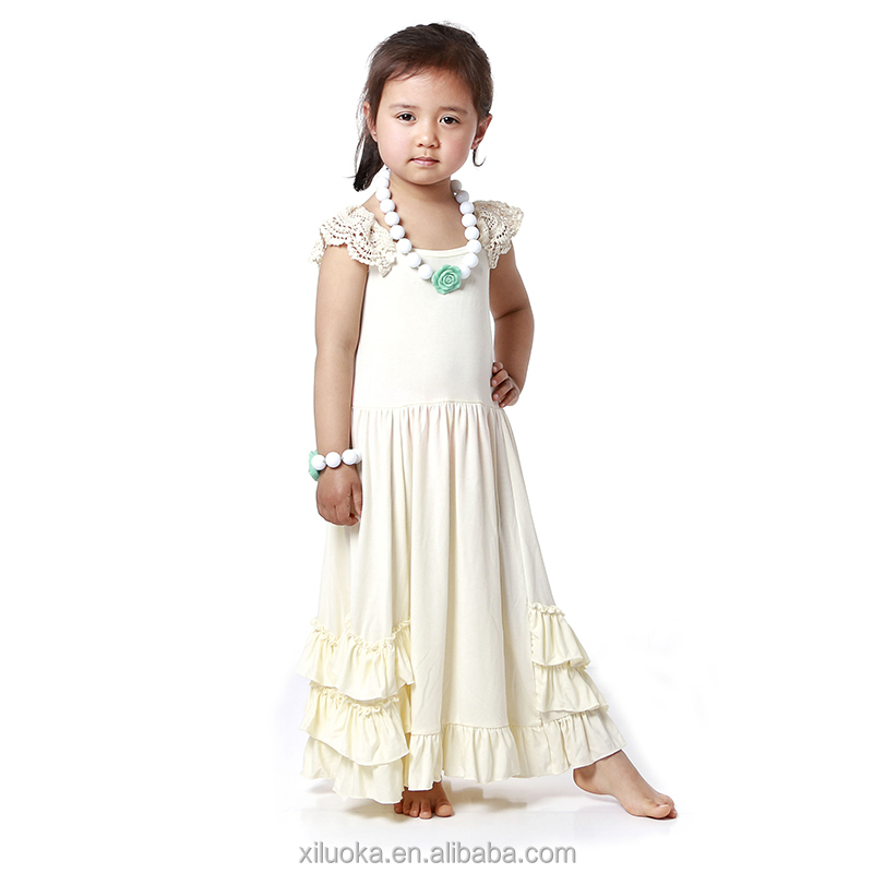 New style ruffle cotton baby summer maxi long hot girls without dress