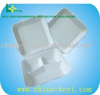 "recyclable food box,9"" 3 Compartment"