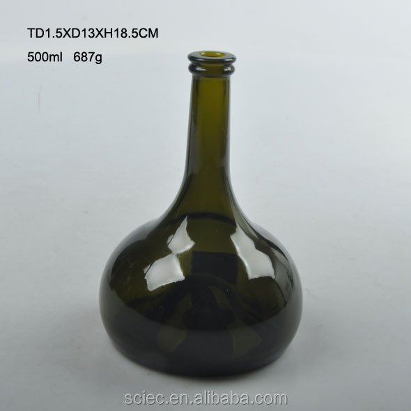 Unique style ball shaped 500ml pigment glass wine bottle high quality