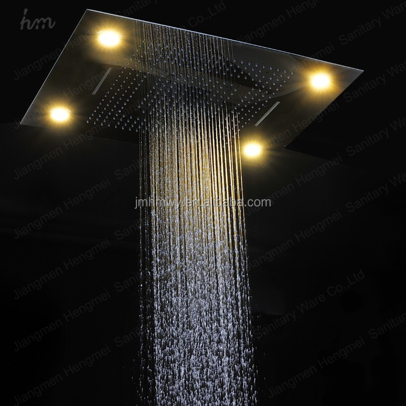 Multi-Function Shower Head 60*80cm Rectangular Rainbow Color Remote Control Recessed Ceiling Rain Shower Set LED Lighting