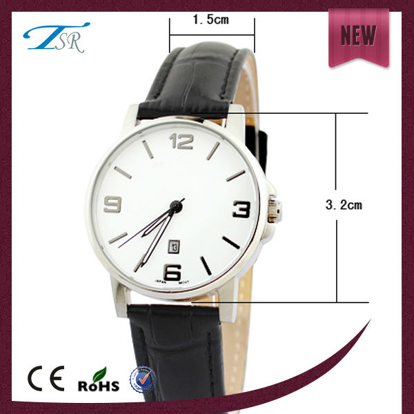 2014 3 ATM waterproof watches calendar at 6 O'clock position with alloy watchcase and leather strap with customer logo