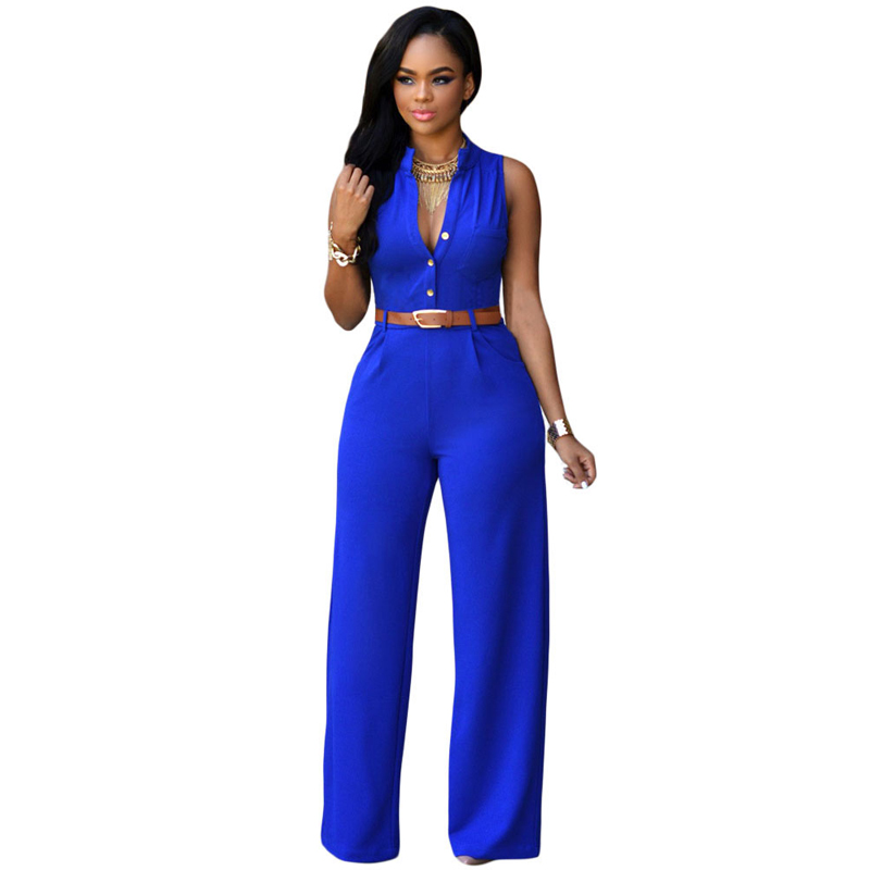 Sexy Hot Black V Neck Belt Embellished Jump Suit for Women
