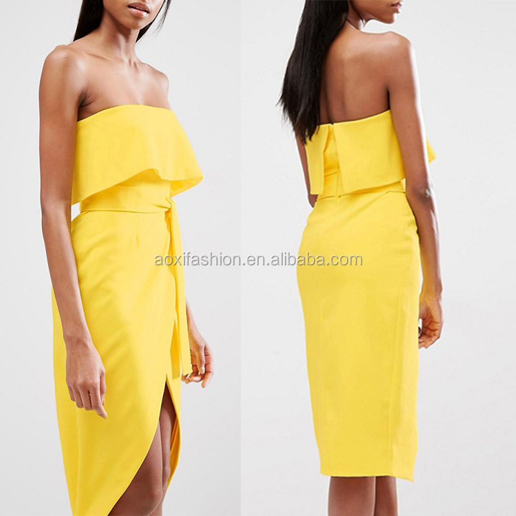 Ladies western dress designs cut out strapless yellow colour party dress