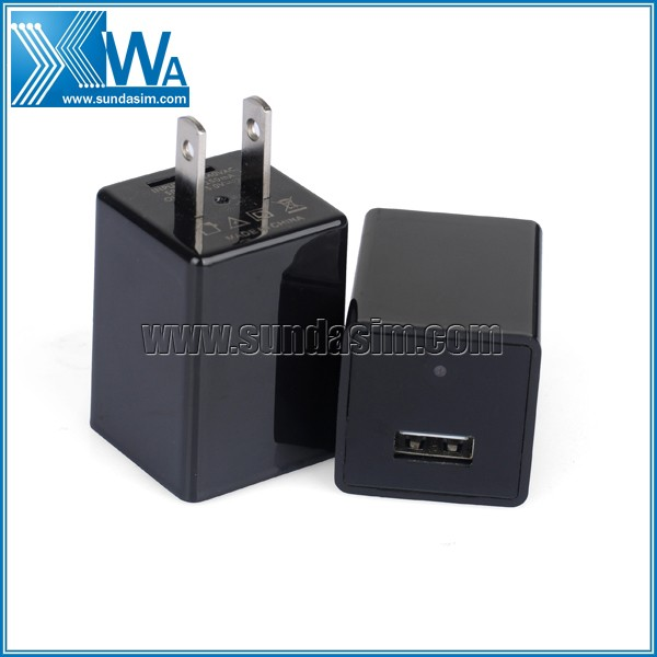 Black Mini USB Charger Hidden Camera WIFI 32GB1080P Covert Nanny Wall Charger Camera Home Surveillance and Security