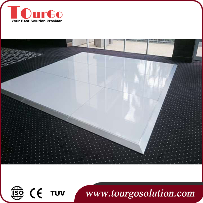 TourGo Solid Modular White Mobile Gloss Dance Floor Interlocking Panels 24ft x 24 ft