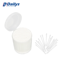 100pcs customized china factory qtips in plastic tube Thick thin cotton swabs with wood stick bud for making up ear cleaning