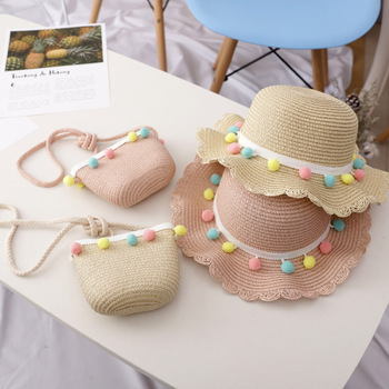 2019 Cute Child Girls Straw Sun Hat Kids Large Brim Beach Summer shade hat