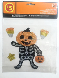 Art halloween pumpkin decorative adhesive romvable crystal gem diamond shaped vinyl stickers