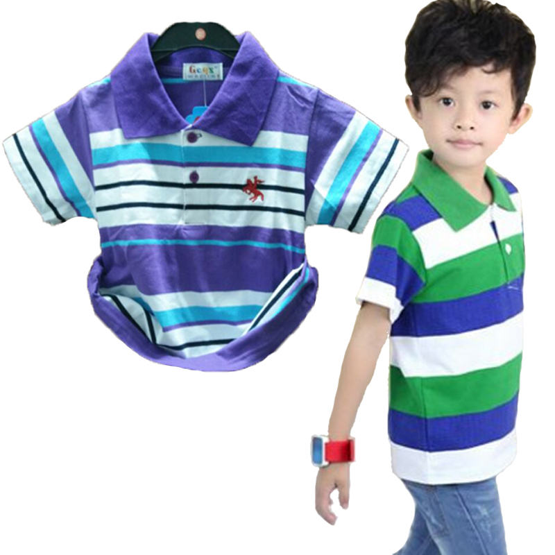 New Boys Polo Shirts Baby children Clothes Summer Style 100% Cotton polo shirt kids clothing Striped white blue black red yellow