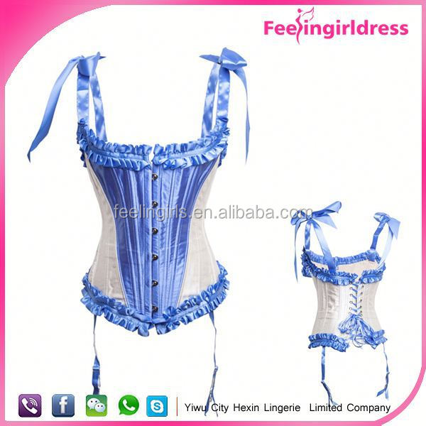 Light blue 2015 steampunk corsets high quality abdominal shaper factory price