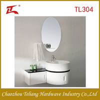 Space Save Round Bathroom Cabinet Vanity with Mirror and Side Cabinet