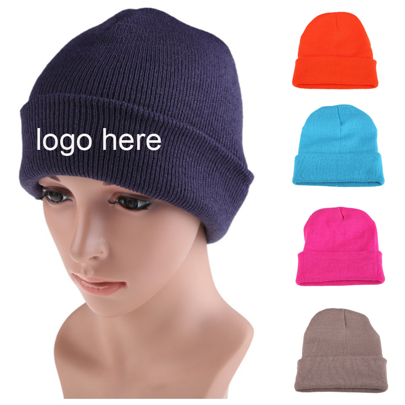Customized Plain Winter Knitted Hat Unisex Red CC Beanie hat