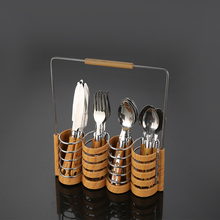 Eco-friendly wood handle cutlery set stainless steel flatware set with soup and tea spoon and knife and fork