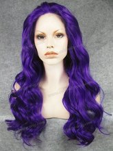 Fashion Design Dark Blue Color Long Wavy Synthetic Lace Front Wigs for Women