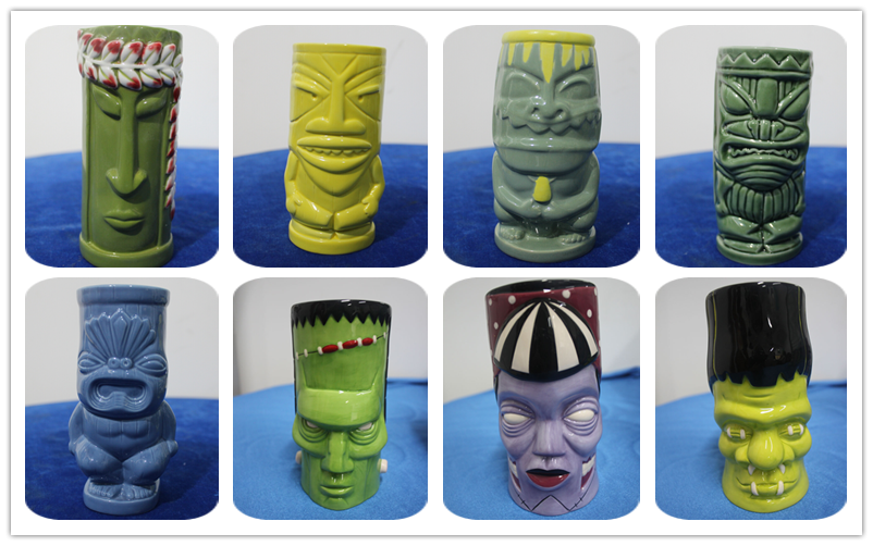 Colourful Head Ceramic Custom Promotional Tiki Mugs