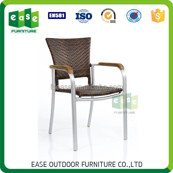 Comfortable bamboo look all weather rattan french cafe bistro chairs