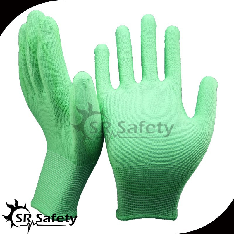 SRSAFETY 13g green pu nylon gloves/pu nylon gloves/cheap price
