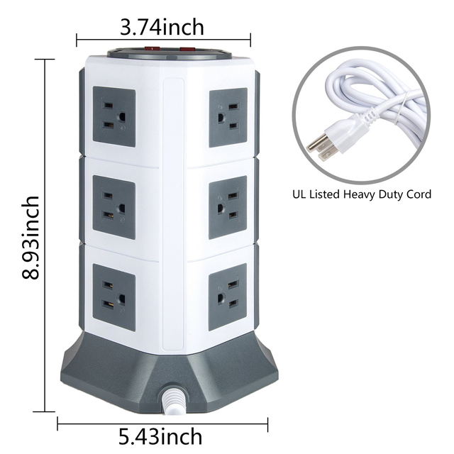 12 Outlets tower usb socket tv socket with individual switch