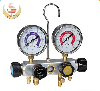 1/4 SAE dry gauge 4-valve piston valve manifold with sight glass 68mm and 80mm gauge optional PR1005