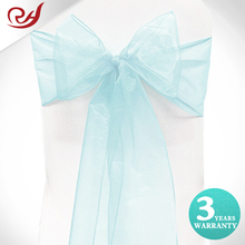 Wholesale tiffany blue organza wedding chair bows sashes for sale