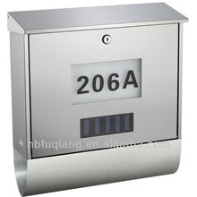 FQ-125 Modern wall mounted stainless steel house numbers mailbox cast aluminum letterbox