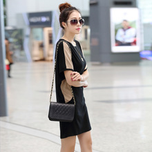 B20614A new fashion summer dresses bat sleeve loose stitching dress