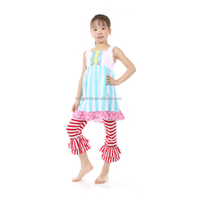 2016 summer persnickety pink polka dots and aqua stripe girls top wholesale children's boutique clothing kids clothes