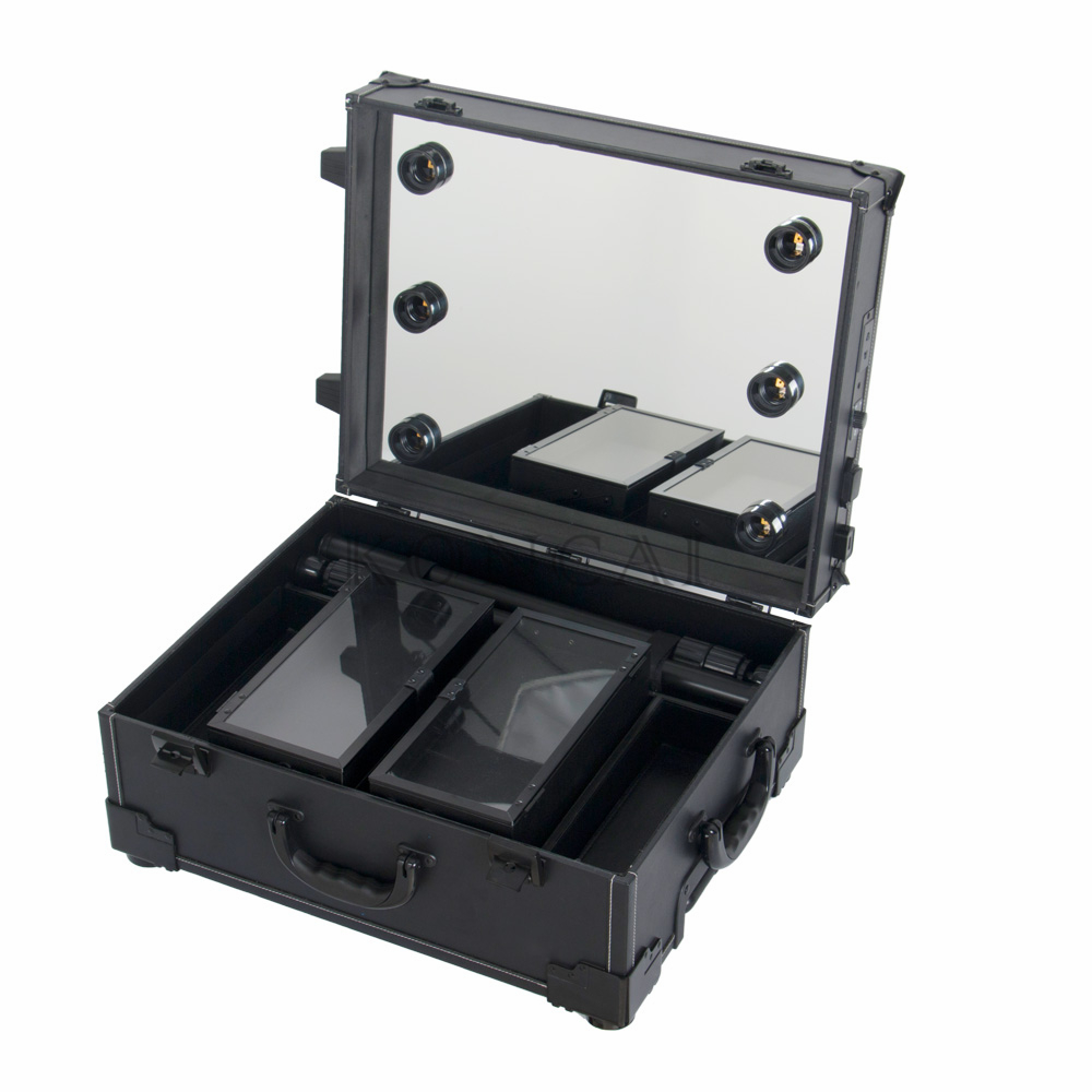 PU ABS Or PP Covering Professional Aluminum Beauty Cosmetic Case With Mirror Ligthts