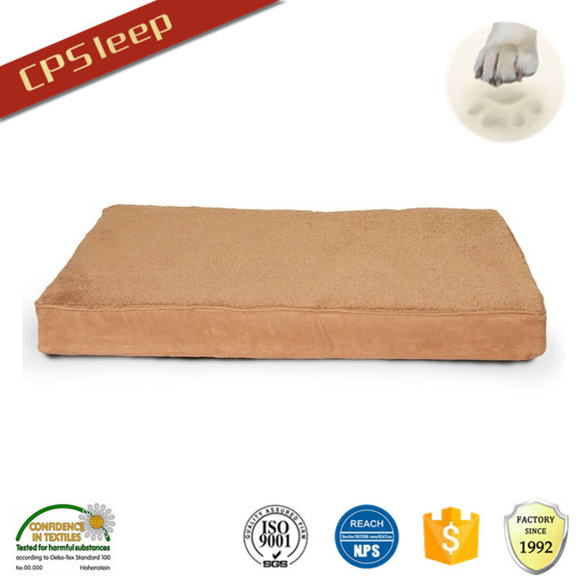 Hot Selling Fashion Rectangle plush brown dog bed