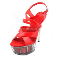 4 Inch Ultra High Heels Sexy Platform Sandals 14cm Girl's Stripper Shoes Professional Customize Jelly Crystal Shoes